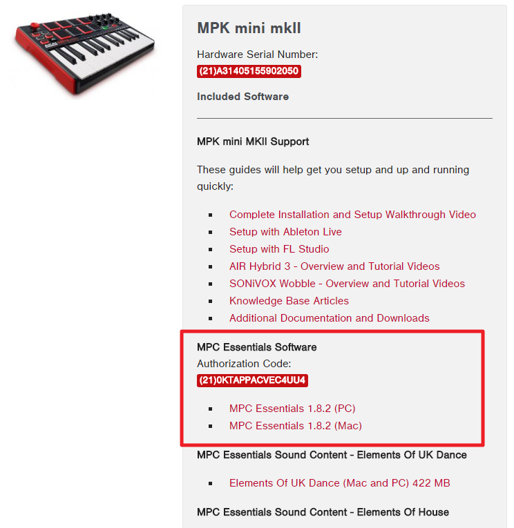 MPK Mini MKII software downloads