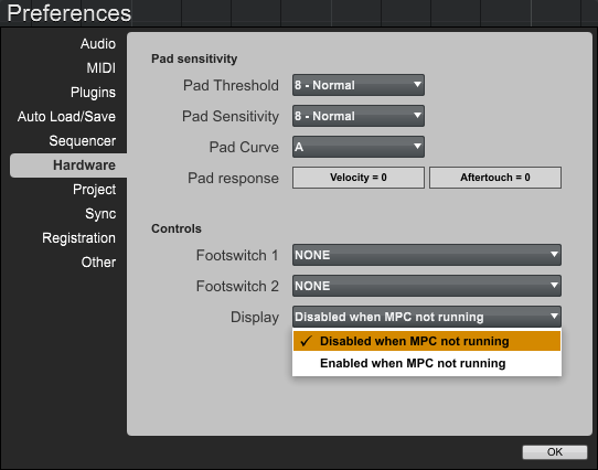 mpc touch software display settings